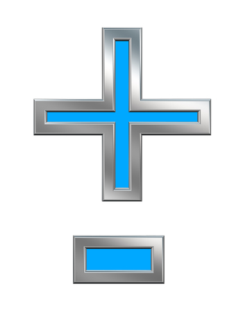 hyphen: Hyphen, minus, plus marks from light blue with chrome frame alphabet set, isolated on white. Computer generated 3D photo rendering.