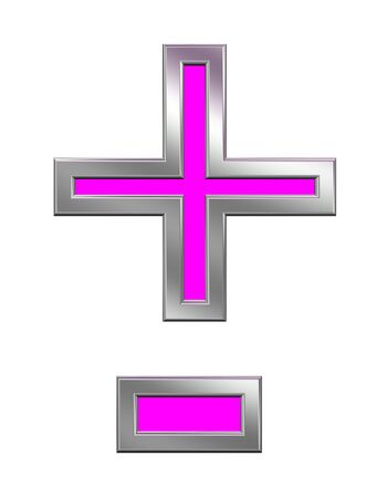 Hyphen, minus, plus marks from pink with chrome frame alphabet set, isolated on white. Computer generated 3D photo rendering.