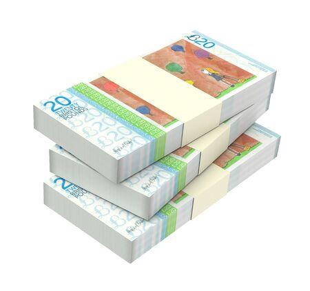 bristol: Bristol pound bills isolated on white background. Computer generated 3D photo rendering.