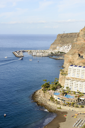 grand canary: View of Taurito and Puerto de Mogan in the background. Grand Canary Island, Spain.