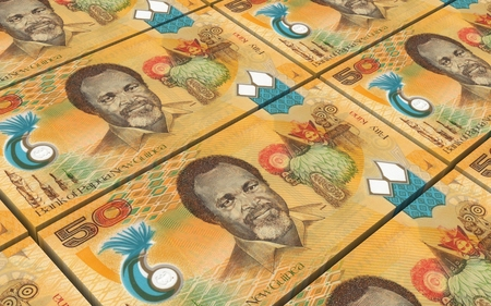 prespective: Papua New Guinean theater bills stacked background. Computer generated 3D photo rendering.