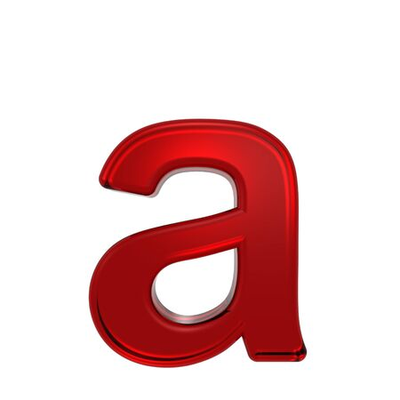 lower case: One lower case letter from ruby alphabet set, isolated on white. Computer generated 3D photo rendering.