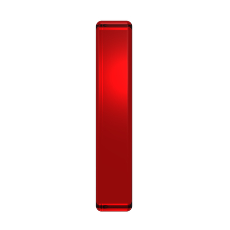 jewel case: One lower case letter from ruby alphabet set, isolated on white. Computer generated 3D photo rendering.