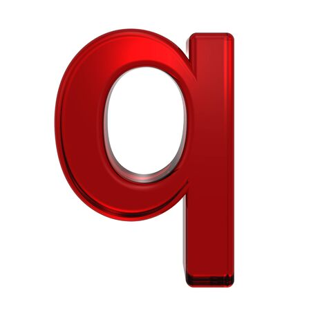 ruby: One lower case letter from ruby alphabet set, isolated on white. Computer generated 3D photo rendering.