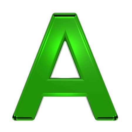emerald: One letter from emerald alphabet set, isolated on white. Computer generated 3D photo rendering.