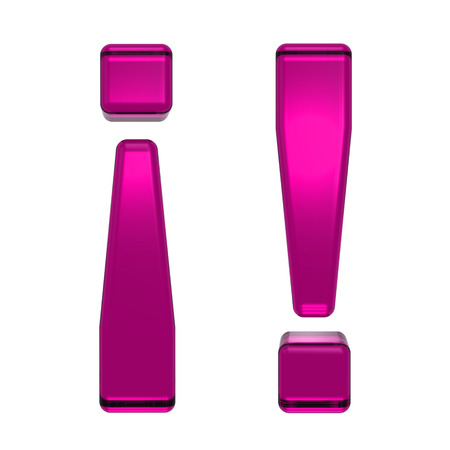 find similar images: Save to preview and lightbox Share Find Similar Images Stock Photo: Exclamation mark from pink alphabet set, isolated on white. Computer generated 3D photo rendering. Stock Photo
