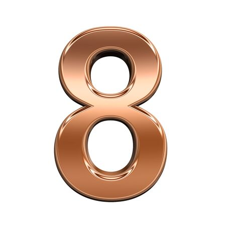solid figure: One digit from shiny copper alphabet set, isolated on white. Computer generated 3D photo rendering. Archivio Fotografico
