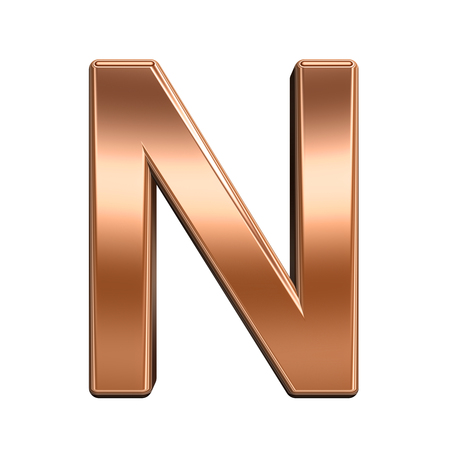 metal sign: One letter from shiny copper alphabet set, isolated on white. Computer generated 3D photo rendering.