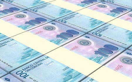nicaraguan: Nicaraguan cordoba bills stacked background. Computer generated 3D photo rendering.