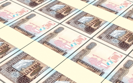 guatemalan: Guatemalan quetzal bills stacked background. Computer generated 3D photo rendering.