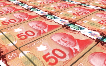 prespective: Canadian dollar bills stacked background. Computer generated 3D photo rendering.