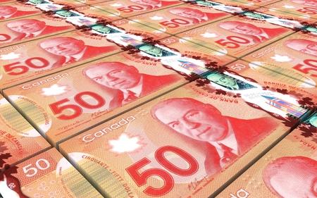 Kanadische-Dollar-Scheine gestapelt Hintergrund. Computer generierte 3D-Foto-Rendering.