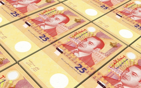 prespective: Moroccan dirhams bills stacked background. Computer generated 3D photo rendering. Stock Photo