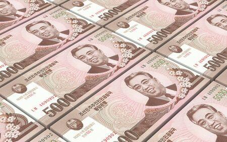 won: North Korea won bills stacked background. Computer generated 3D photo rendering. Stock Photo