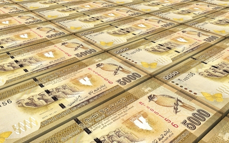 five rupee: Sri Lankan bills stacked background. Computer generated 3D photo rendering.