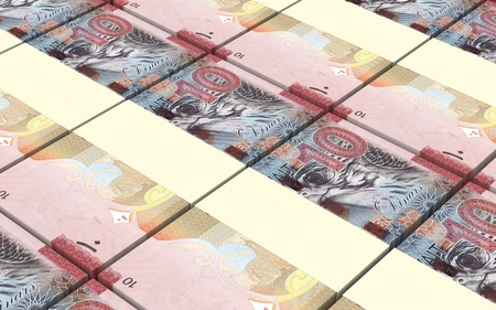 arabic currency: Kuwait dinars bills stacked background. Computer generated 3D photo rendering.
