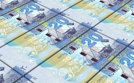Kuwait dinars bills stacked background. Computer generated 3D photo rendering.