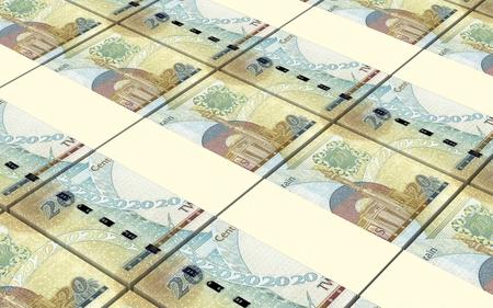 bahrain money: Bahraini dinar bills stacked background. Computer generated 3D photo rendering.
