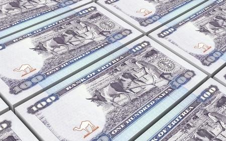 papermoney: Eritrean Nakfa bills stacked background. Computer generated 3D photo rendering. Stock Photo
