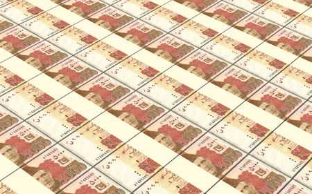 five rupee: Pakistan rupee bills stacked background. Computer generated 3D photo rendering. Stock Photo
