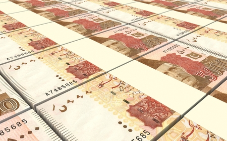 rupee: Pakistan rupee bills stacked background. Computer generated 3D photo rendering. Stock Photo