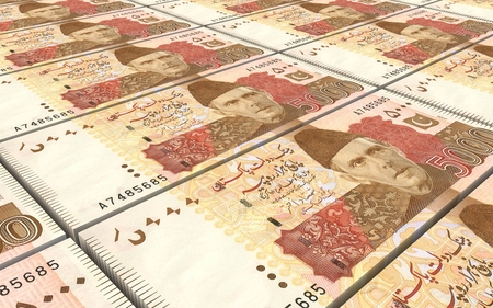 jinnah: Pakistan rupee bills stacked background. Computer generated 3D photo rendering. Stock Photo