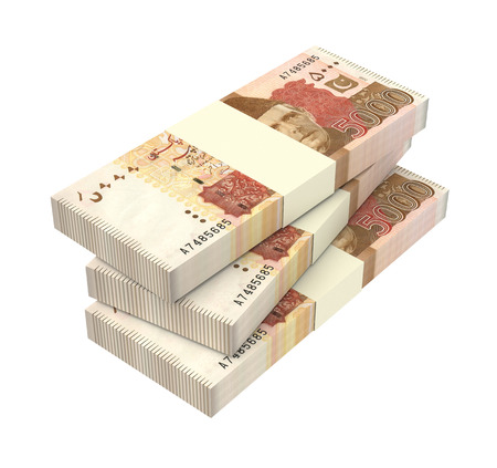 jinnah: Pakistan money isolated on white background. Computer generated 3D photo rendering.