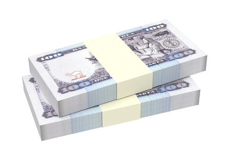 papermoney: Eritrean Nakfa bills isolated on white background. Computer generated 3D photo rendering. Stock Photo
