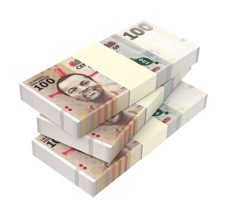 papermoney: Swazi emalangeni bills isolated on white background. Computer generated 3D photo rendering.