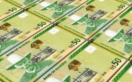 papermoney: Namibian dollars bills stacked background. Computer generated 3D photo rendering. Stock Photo