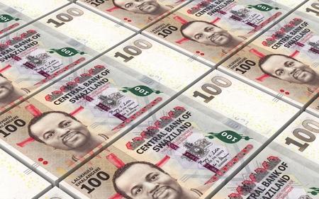 papermoney: Swazi emalangeni bills stacked background. Computer generated 3D photo rendering.