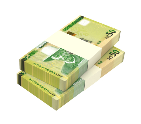 papermoney: Namibian dollars bills isolated on white background. Computer generated 3D photo rendering.