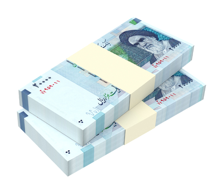 iranian: Iranian rials bills isolated on white background. Computer generated 3D photo rendering. Stock Photo