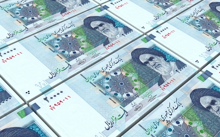 iran: Iranian rials bills stacked background. Computer generated 3D photo rendering.
