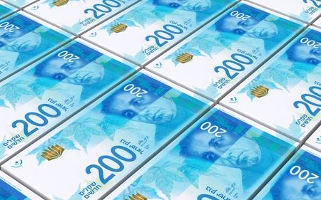 israeli: Israeli Shekel bills stacked background. Computer generated 3D photo rendering.
