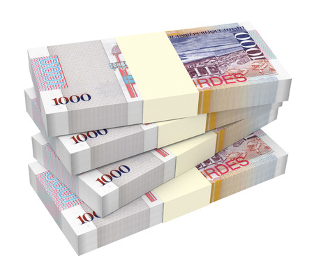 haitian: Haitian gourde bills isolated on white background. Computer generated 3D photo rendering.