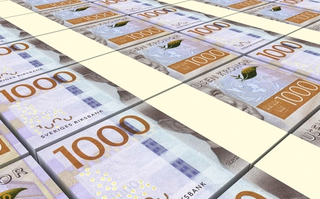 prespective: Swedish kronor bills stacked background. Computer generated 3D photo rendering. Stock Photo