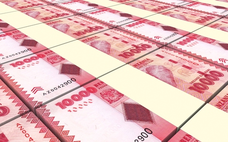 Tanzanian Shilling Bills Stacked Background Computer Generated