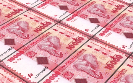 shilling: Tanzanian shilling bills stacked background. Computer generated 3D photo rendering.