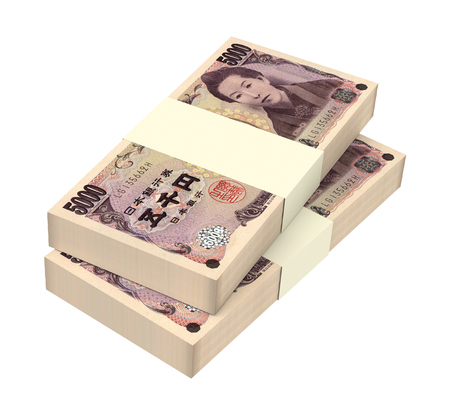 japanese yen: Japanese yen money isolated on white background. Computer generated 3D photo rendering.