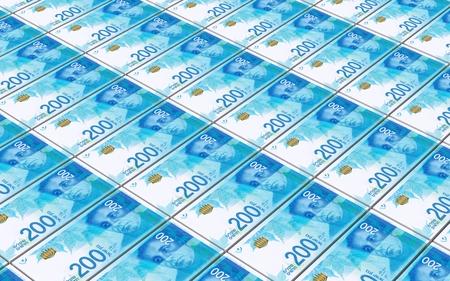 Israeli Shekel bills stacked background. Computer generated 3D photo rendering.