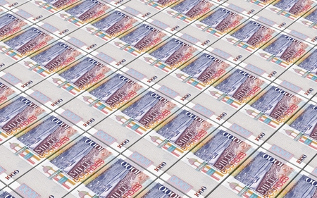 papermoney: Haitian gourde bills stacked background. Computer generated 3D photo rendering. Stock Photo