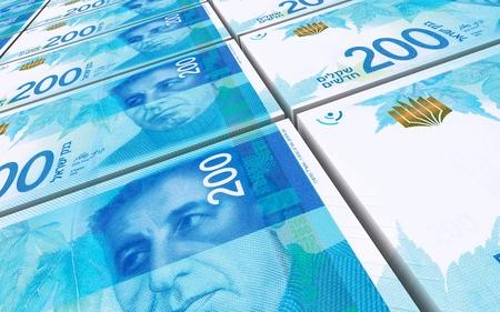prespective: Israeli Shekel bills stacked background. Computer generated 3D photo rendering.