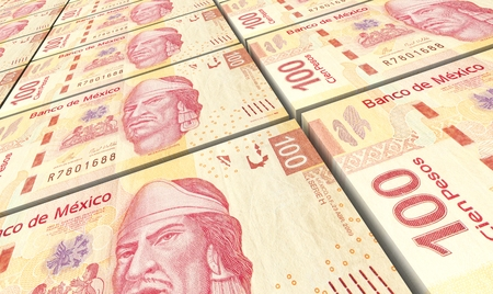 prespective: Mexican pesos bills stacked background. Computer generated 3D photo rendering. Stock Photo
