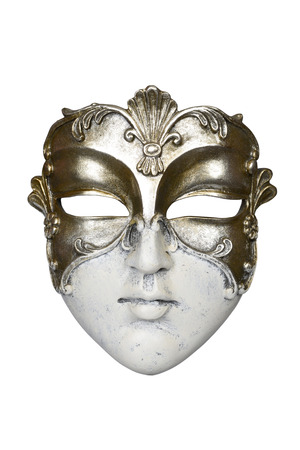 mascarilla: M�scara del carnaval veneciano aislado en fondo blanco con trazado de recorte.