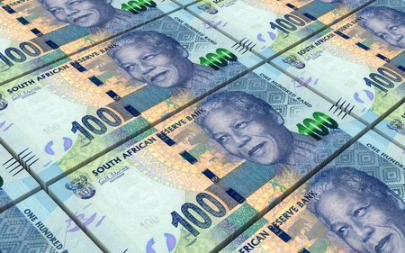 South African rands bills stacked background. Computer generated 3D photo rendering.