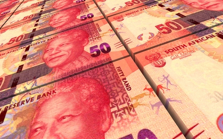 South African rands bills stacked background. Computer generated 3D photo rendering. Stock Photo