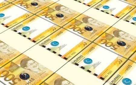 signo de pesos: Facturas Filipinas pesos apilados fondo. Generado por ordenador 3d de fotos. Foto de archivo