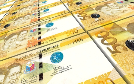 peso: Philippines peso bills stacked background. Computer generated 3D photo rendering. Stock Photo