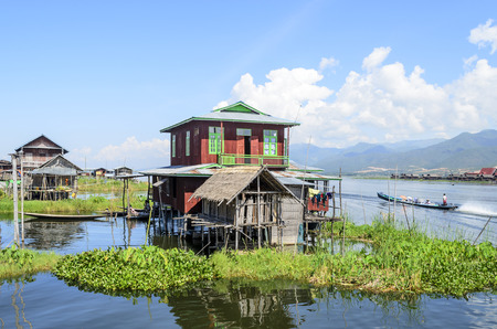 boat house: A bamboo house on stilts in Inle Lake, Burma (Myanmar).